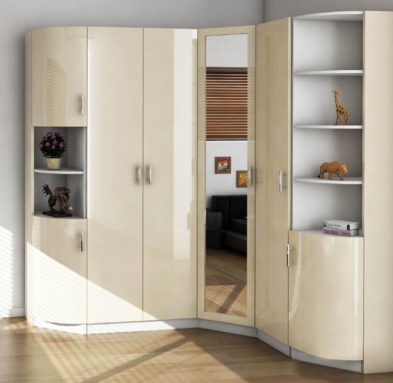 Угловой радиусный шкаф бежевого цвета на заказ