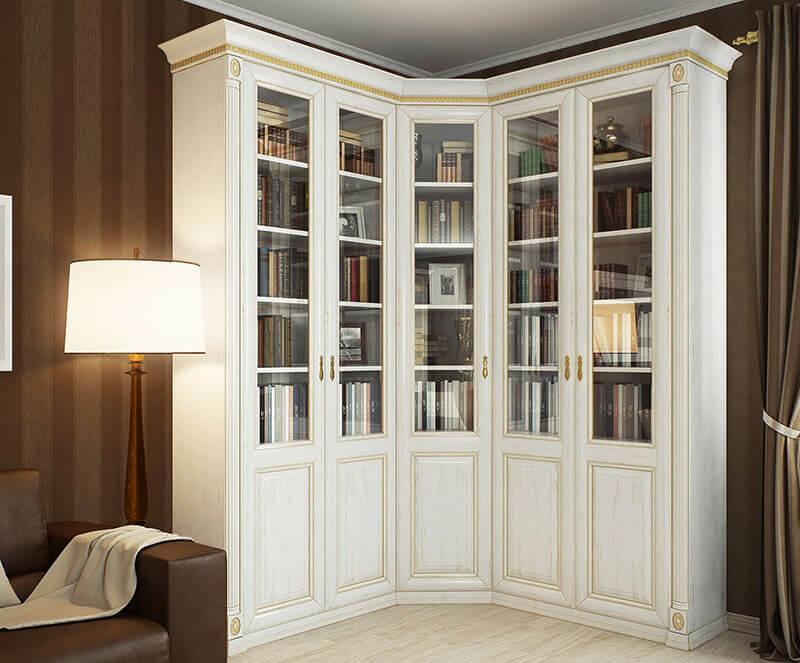 Угловой книжный шкаф на заказ