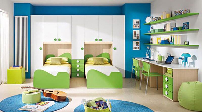 Две кровати для детей со шкафом на заказ