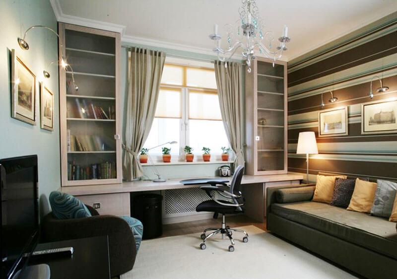Стол под окно с полками для книг на заказ