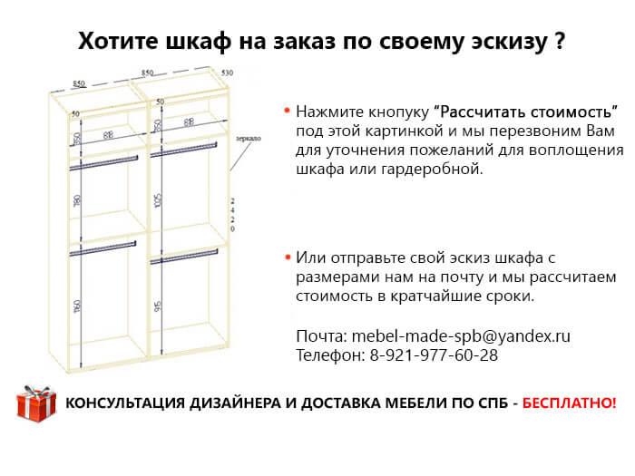 Встроенный шкаф на заказ по индивидуальным размерам