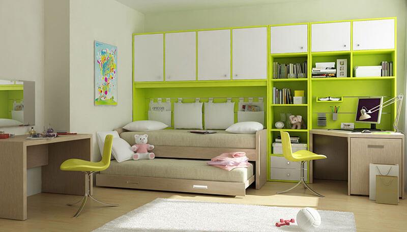 Детская комната на двоих бело-салатовая на заказ